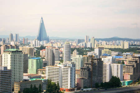 Capital Pyongyang city's Skyline in North Korea (DPRK) 免版税图像