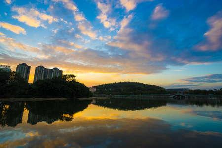 The landscape of south lake with sunset in huizhou west lake scenic area, Huizhou city, guangdong, China