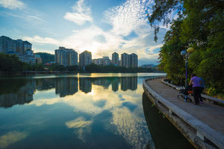 The city landscape of South Lake by Huizhou West Lake Scenic Area, Huizhou city, Guangdong, China