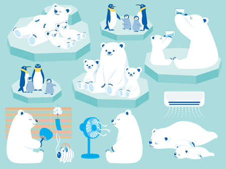 Illustration of a polar bear and a penguin parent and child spending the summer