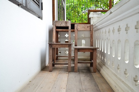 Old wood chair on terrace. photo