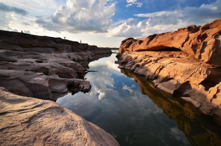 dawning: Thailand canyon ( limestone ) at mekong river. Stock Photo