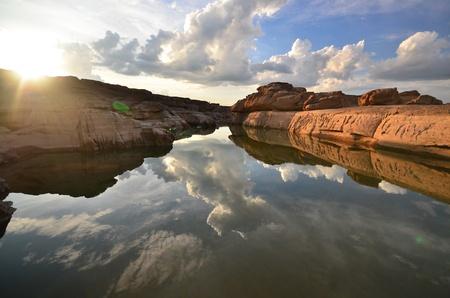 Thailand canyon ( limestone ) at mekong river. Stock Photo