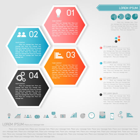 cubic: hexagon banner and business icon vector