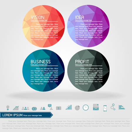 business circle banner and business icon vector