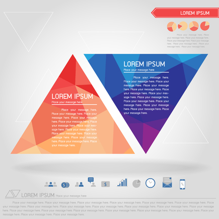business triangle banner and business icon vector Illustration