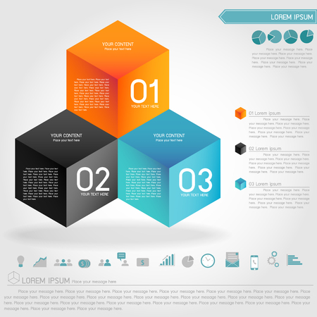 cubic: cubic illusion infographic and business icon vector