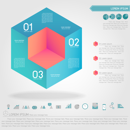 cubic infographic and business icon vector