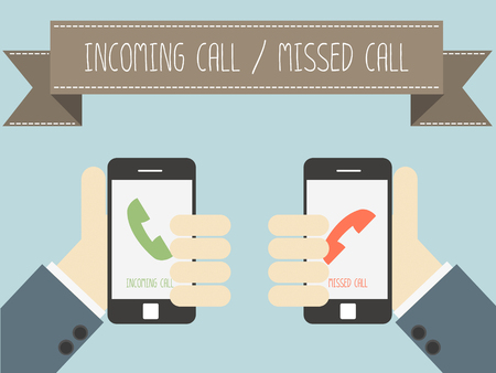 missed: incoming call and missed call on smartphone vector