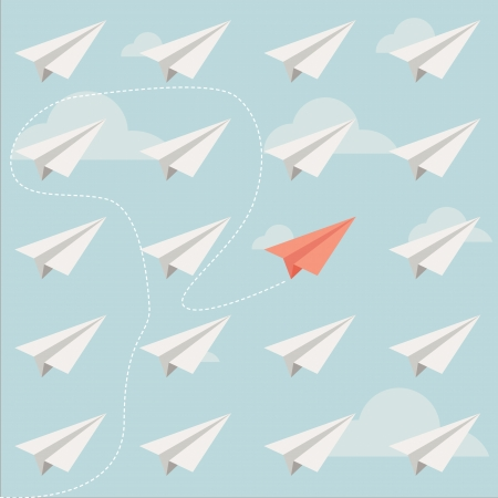 different paper plane vector