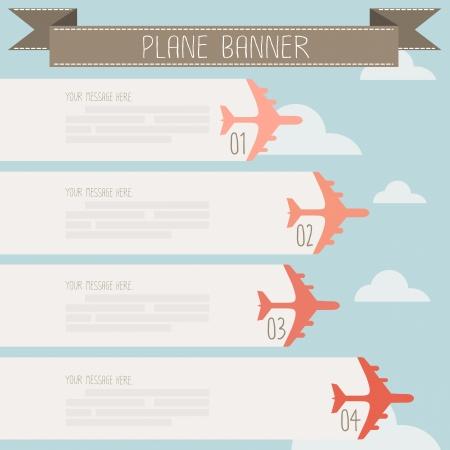 plane banner on sky vector Ilustração