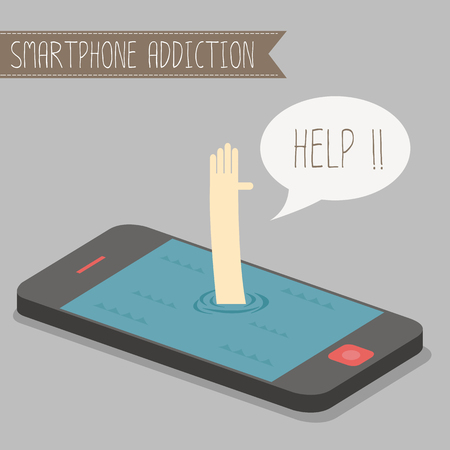 human get drowned in concept smartphone addiction Ilustracja
