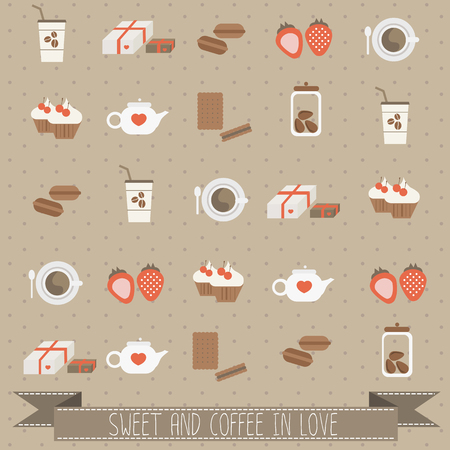 sweet and coffee in love vector Illustration