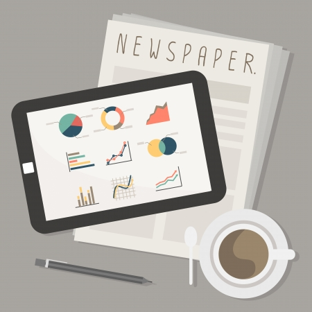 tablet and newspaper with coffee vector