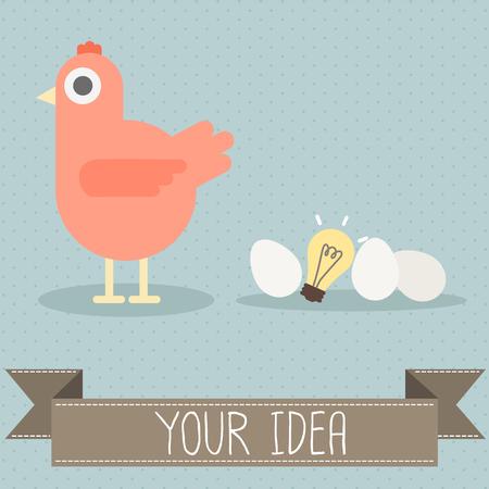 gallina con huevos: gallina con huevo y vector bombilla Vectores