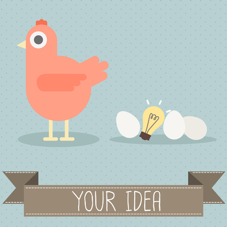 hen with egg and light bulb vector