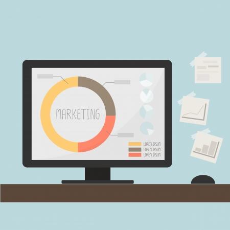 marketing graph data on computer desktop Illustration