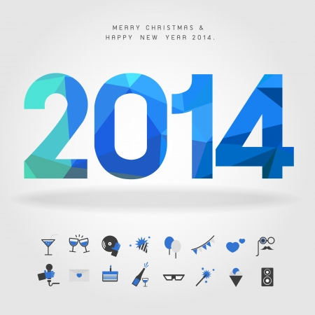 merry christmas and happy new year 2014 with party icon vector Vector