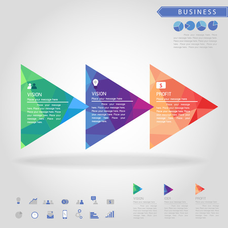 triangle objects: step of triangle banner and business icon vector Illustration