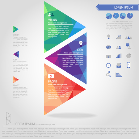 step of triangle banner and business icon vector Illustration