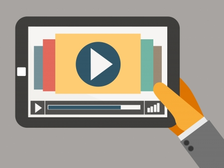 tablet on the hand with video player vector Vector