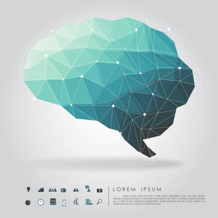 thinking brain: brain polygon with business icon  Illustration
