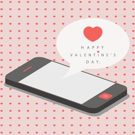 smartphone with love message for valentine day Ilustração
