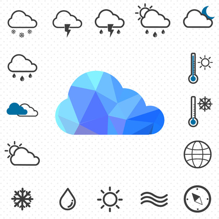polygon cloud and weather icon  Ilustracja