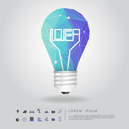blue polygon idea light bulb with business icon vector