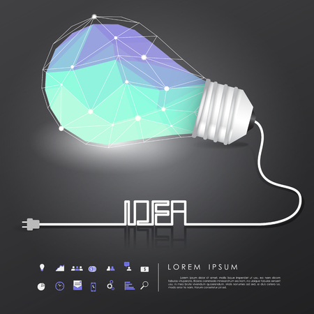 polygon idea light bulb on black background with business icon and idea wire vector Vector