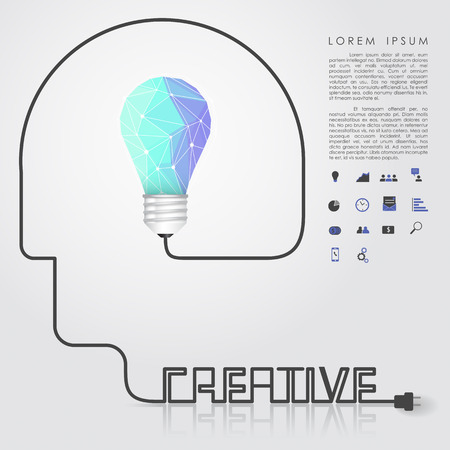 polygon idea light bulb with business icon and creative head wire vector Vector