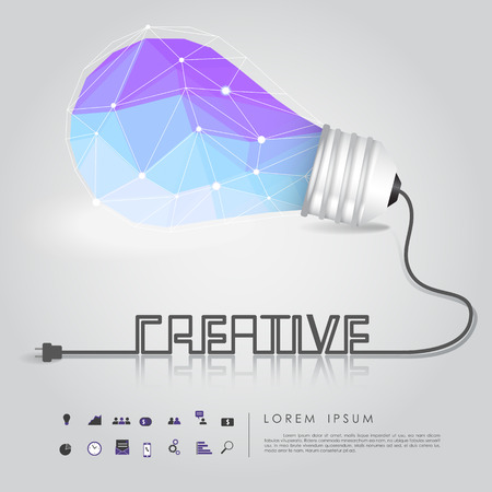 polygon idea light bulb with business icon and creative wire vector