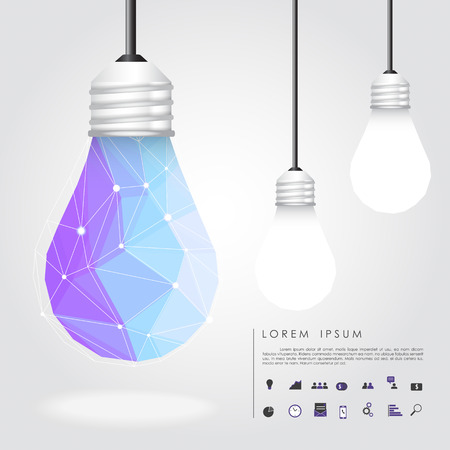 polygon idea light bulb with business icon vector Illustration