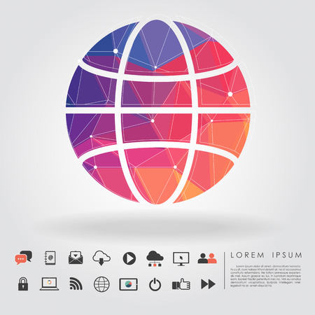 polygon global symbol with communication icon vector Vector