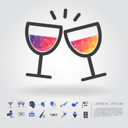 dressing up party: polygon wine glass with party icon vector