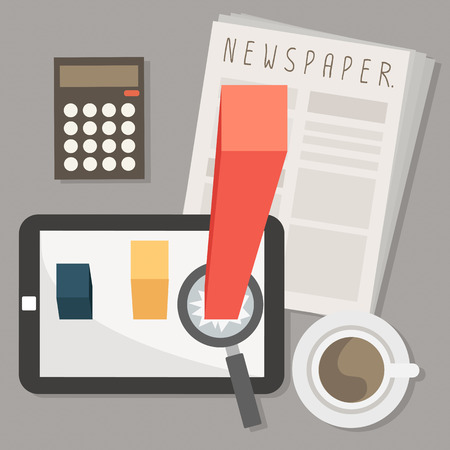 marketing on tablet and newspaper with coffee vector Vector