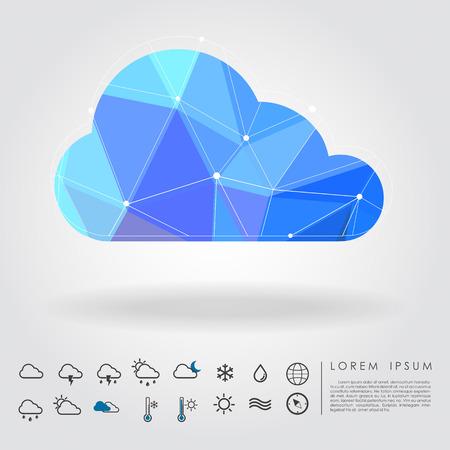 Nube poligono con icona vettore Archivio Fotografico - 26466419