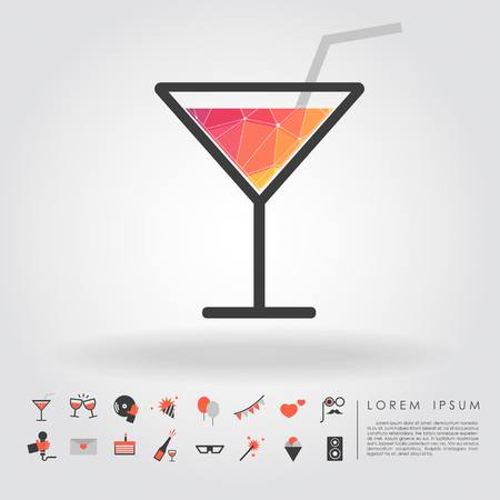 dressing up party: polygon cocktail glass with party icon vector