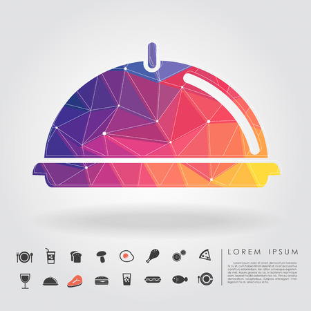 fried noodles: polygon holding tray with food icon vector Illustration