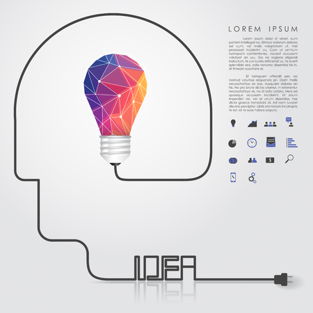 polygon idea light bulb with business icon and idea head wire vector Vector