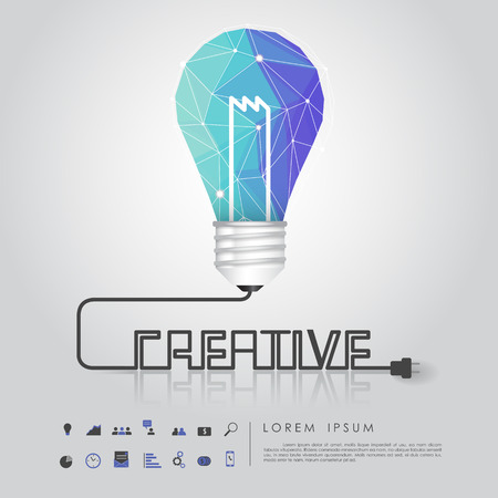 blue polygon idea light bulb with business icon and creative wire vector