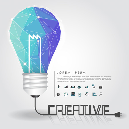 polygon idea light bulb with business icon and creative line vector