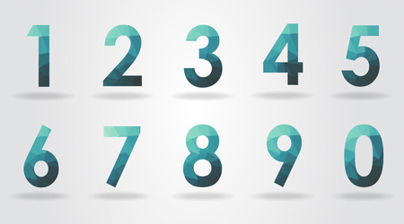 abstract numbers: polygon number set vector