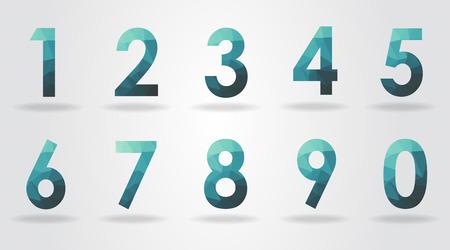 number four: polygon number set vector