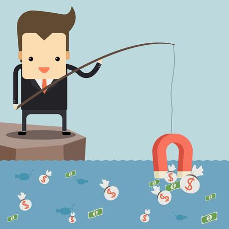 polarize: Businessman fishing money by red magnet Illustration