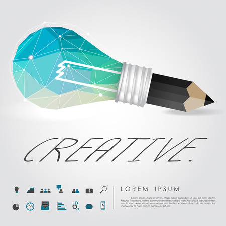 geometry idea light bulb and pencil write creative word with business icon