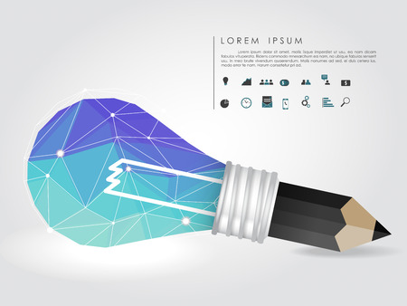 polygon idea light bulb and pencil with business icon