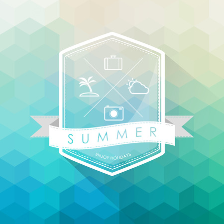 summer label on polygon abstract background Banco de Imagens - 27247879