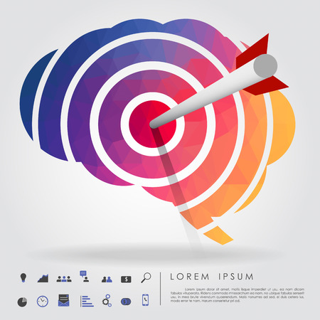 arrow on brain target with business icon 向量圖像