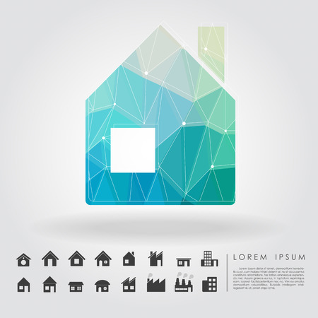 polygon house symbol with building icon